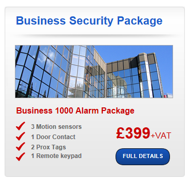 Business Security Package Business 1000 Alarm Package 3 Motion sensors 1 Door Contact2 Prox Tags 1 Remote keypad